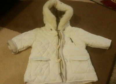 New Burberry Baby Unisex hooded parka cream 3 months RRP $295