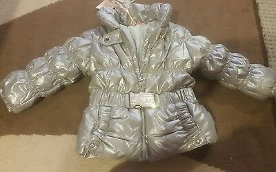 New Authentic Guess Silver baby girls thick winter jacket 6 months $200