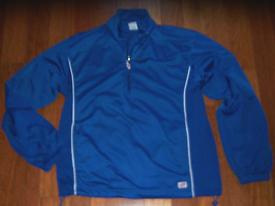 Adult Unisex Royal Blue Soffe Pullover Athletic  1/4  Zipper Jacket Size Small