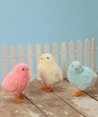 Set/3 Bethany Lowe Easter Pastel Furry Chicks Spring Decoration Ducks Figurines