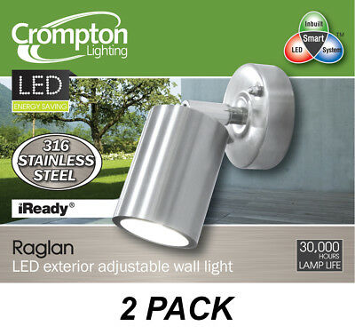 2 x Stainless Steel Outdoor Exterior Adjustable Wall Lights - 35W 240V GU10