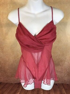 Victorias Secret coral with Lace Negligee Teddy babydoll Size M NWT Gift snaps