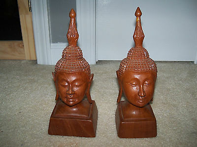 Lot of 2 Hand Carved Chinese Bali Girl Wooden Statue Figures