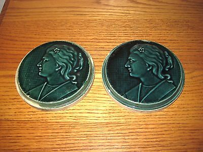 Pair Of Victorian Antique Round Lady Portrait Tiles