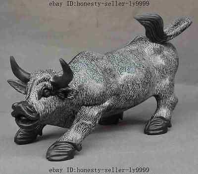 """14""""Chinese Natural Jade Carved FengShui Zodiac Animal Cattle Bull Ox Oxen Statue"""