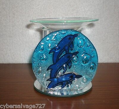 Three Dolphin All Stained Glass Oil Warmer  2 piece For Scented Oil Aromatherapy