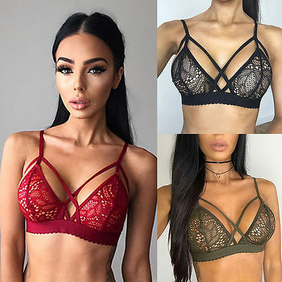 Sexy Womens Lace Floral Sheer Triangle Bralette Underwear Bra Crop Top Lingerie
