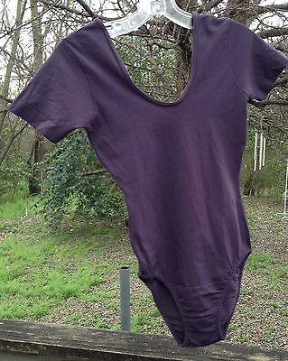 Vtg 80s Danskin Bodysuit PLUM Nylon Leotard Workout Dance High Cut Adult XS/ S