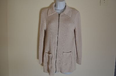 In Due Time Maternity Women's Zip Sweater Pockets Beige Stretch Size Small