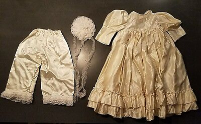 Vintage Handmade Doll Dress Antique White Satin Lace Baby Doll Germany