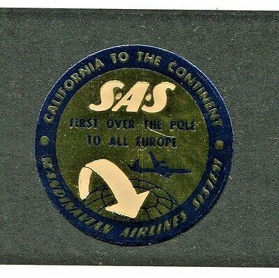 Vintage Advertising Label SAS Scandinavian Airlines 1st over the pole gold foil