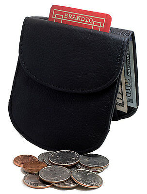 BRANDIO Black TAXI CABBIE WALLET Coin Purse ROUND CORNERS Leather CP1012