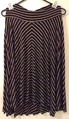 A Pea In The Pod Maternity Skirt Brown Black Stripes Size Small