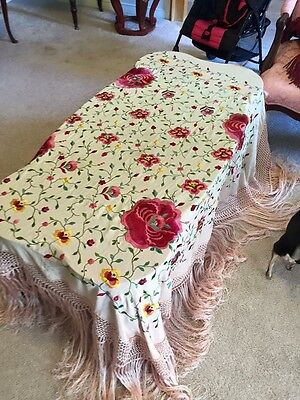 $ Reduced: Antique Silk Embroidered Piano Shawl, Free Ship and Insure
