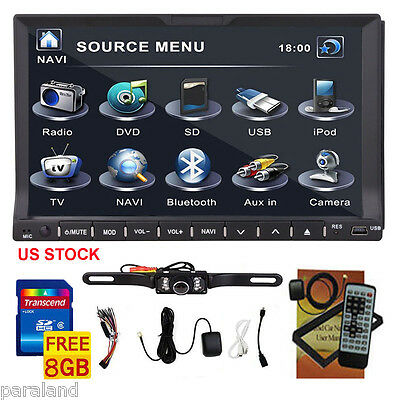 "Camera+Double 2 Din 7"" GPS In Dash Stereo Car DVD Player Bluetooth Radio iPod SD"