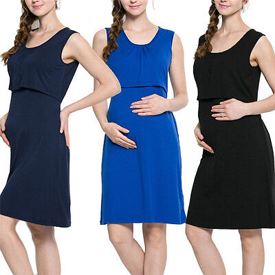 Pregnant Women Summer Maternity Breastfeeding Clothes Cotton Nursing Dresses