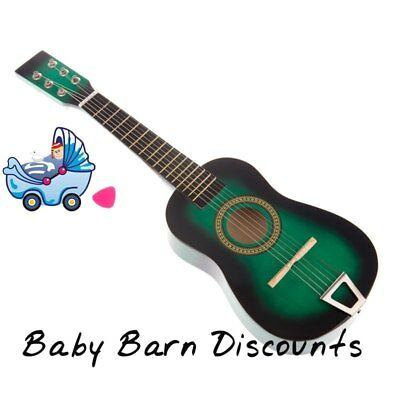NEW Fun Factory - Wooden Guitar 6 String 58 cm - Green from Baby Barn Discounts