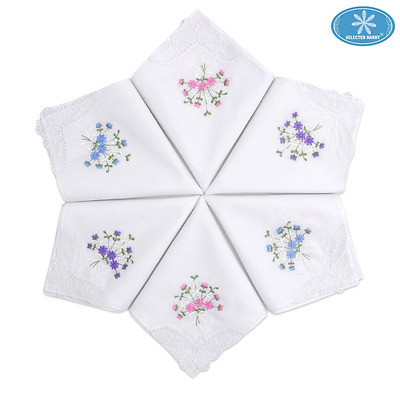 Selected Hanky Ladies/Women's Cotton Handkerchief Flower Embroidered with Lace 6