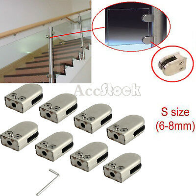 8X 6-8mm 304 stainless steel Glass Clamp Clip Flat Bracket Balustrade Staircase