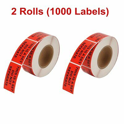 2 Rolls 500/Roll 1 X 2 This Is a Set Do Not Separate Shipping Stickers Label Red