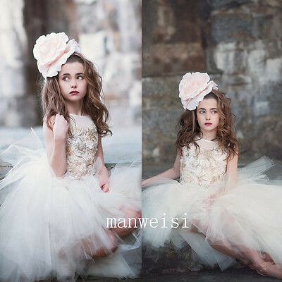 White Pageant Flower Girls Kids Dress Communion Party Prom Princess Bridesmaid