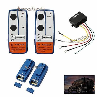 12V Recovery Wireless Winch Remote Control 2 Handset Switch For JEEP ATV SUV UK