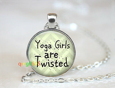 Yoga Girls Are Twisted glass dome Tibet silver Chain Pendant Necklace wholesale