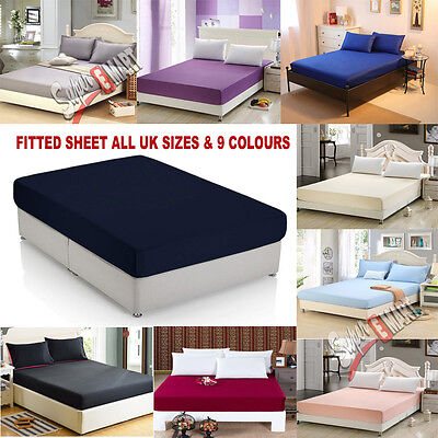 Fitted Bed Sheets Percale Poly Cotton Egyptian Combed Single Double Super King.
