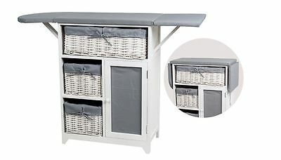 New Ironing Board Storage Unit with 3 Wicker Baskets Foldable Drawers Grey/White