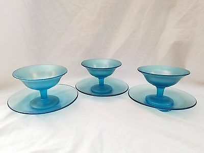 3 Fenton Celeste Blue Carnival Footed Stretch Glass Sherberts  AND 3 Plates (2)