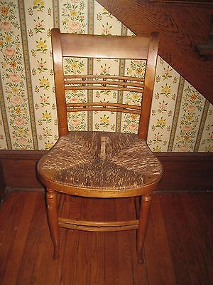 Antique Wooden Ladder Back Chair With Woven Seat