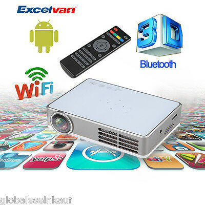 3000 Lumens 10000:1 DLP Android Wifi Bluetooth 1080P 3D DLP Vidéoprojecteur LED