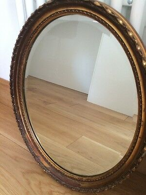 Large Antique Oval Wall Mirror, Bevelled Glass Heavy, Vintage Gold Distressed