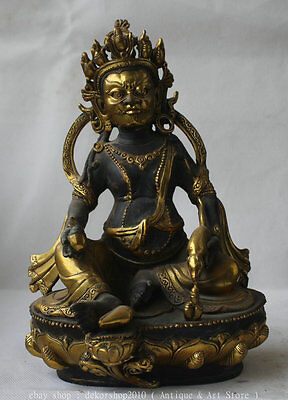 "10"" Chinese Buddhist Bronze Gilt Yellow Jambhala Wealth God Holder Mouse Statue"