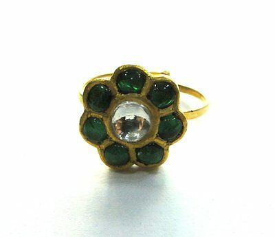 Vintage antique Solid 20k Gold jewelry Diamond Polki Emerald Gemstones Ring