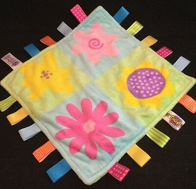 Taggies Baby Blanket Flowers Blue Green Pink Yellow Lovey Plush Ribbon Loops