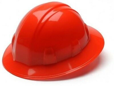 New Hard Hat Pyramex Full Brim 4pt Ratchet Hi Viz Orange ANSI Approved HP24141