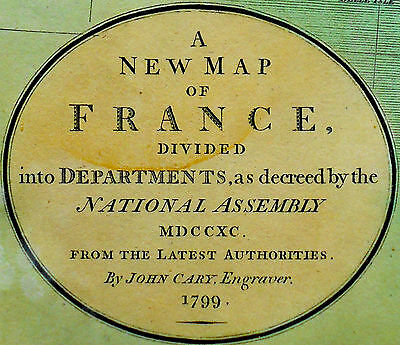 1799 Large Antique Map Chart John Cary France Europe