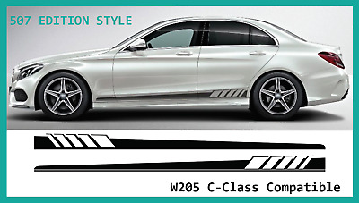 Mercedes C-Class W205 AMG Style Side Stripe Decal Graphic Set (507 Edition C63)