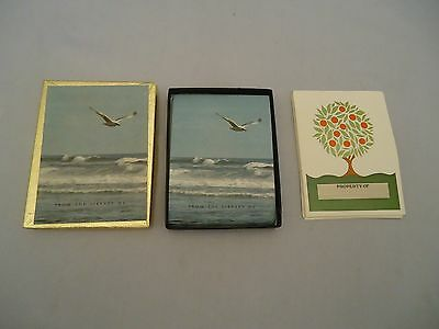 2 types Antioch Publishing Bookplates USA SEAGULL over OCEAN Fruit Tree