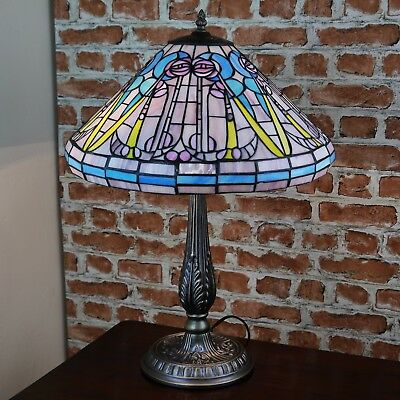 "New LARGE 16""Diameter Mackintosh Tiffany Stained Glass Table Lamp Hand Made Deco"