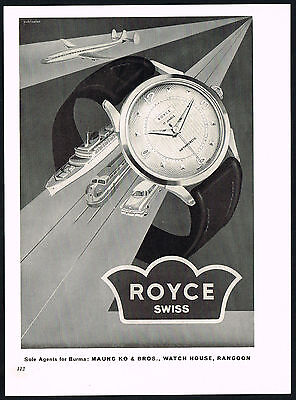 1950's Vintage 1955 Royce Antimagnetic Watch Co. Mid Century Modern Art Print AD