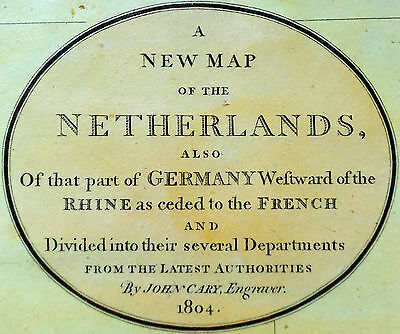 1804 Large Antique Map Chart John Cary Netherlands Germany Europe