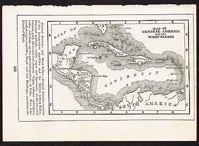 1892 Small Old Antique Vintage Paper MAP of Central America & West Indies