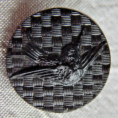 Vintage Glass Picture Button Sparrow Bird Swallow #510-B