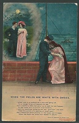 Song Card The Fields Are White With Daisies (1) 1909 Bamforth Printed Postcard