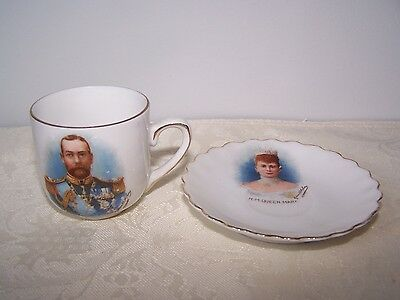 British Royalty H.m. King George & Hm Queen Mary Signed Miniature Cup And Saucer