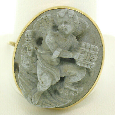 Vintage 14k Yellow Gold 3D Gray Lava Rock Cameo Young Boy Angel Brooch Pin