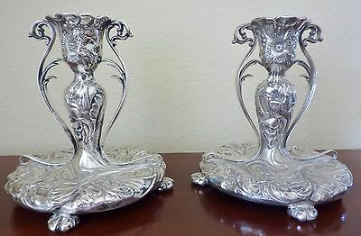 Art Nouveau Poppies Candlestick Pair Pairpoint Silverplate Candle Holders 1800s