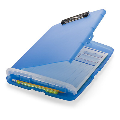 Officemate Slim Clipboard Storage Box, Translucent Blue (83304), New.